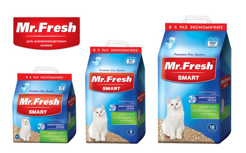Форма выпуска Mr.Fresh Smart для длинношерстных кошек: 4,5, 9 и 18 литров