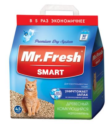 Наполнитель Мистер Фреш для короткошерстных кошек 4,5 литра